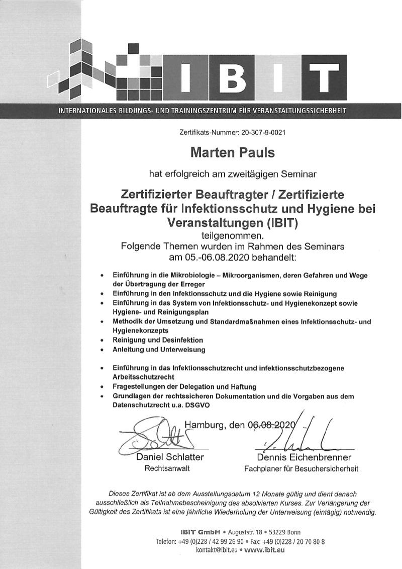 campo Zertifikat Infektionsschutz und Hygienekonzepte 2