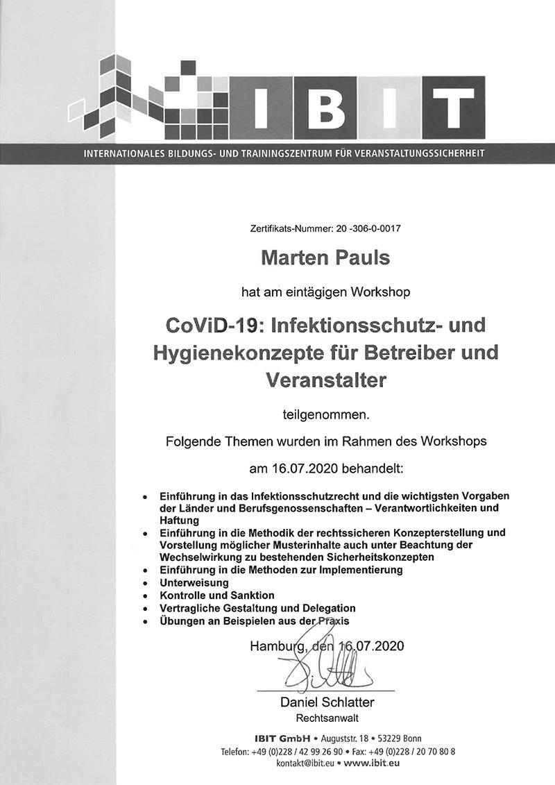 campo Zertifikat Infektionsschutz und Hygienekonzepte